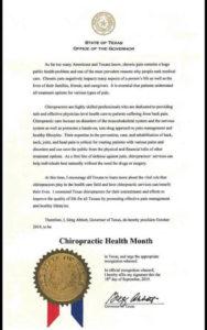 Courrier gouverneur Texas sur la Chiropraxie